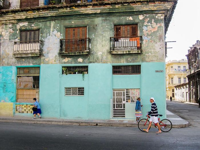 A quiet street scene in Havana, Cuba.
