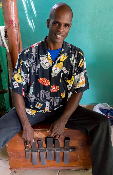 "Changui at the Casa del Changui, in Guantanamo, Cuba.  The instrument, which is played like a large thumb piano, has various names in Cuba, including ""marimbola"" and ""marimba,"" but not to be confused with the xylophone-style instrument."