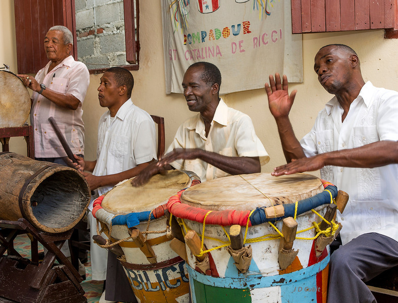 "Drummers in the Pompadour Tumba Francesa group, Guantanamo, Cuba.  In this context, ""tumba"" means drum, not tomb."