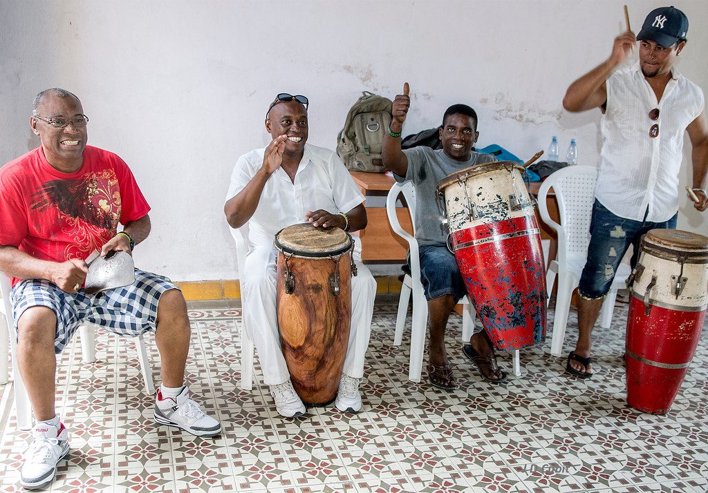 Yoruba based Afro-Cuban Dance, eastern Cuba.  The instrument on the left is a shovel blade struck by a metal tool.