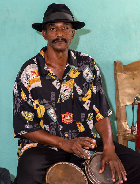 Changui bongo player at the Casa del Changui, in Guantanamo, Cuba.