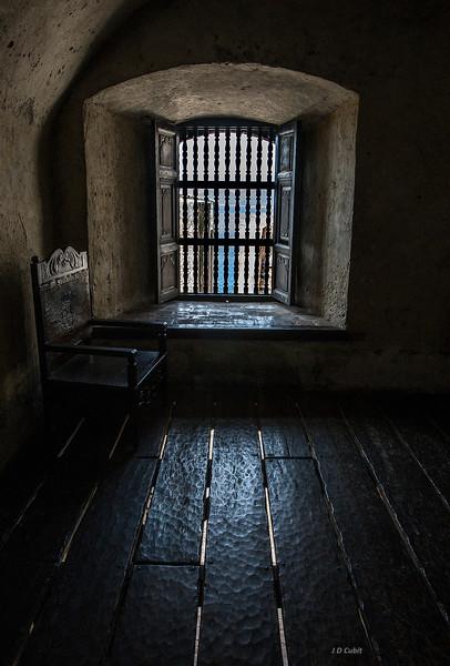 Castillo de San Pedro del Morro, view to the sea.  Note thick walls and adzed floor boards.