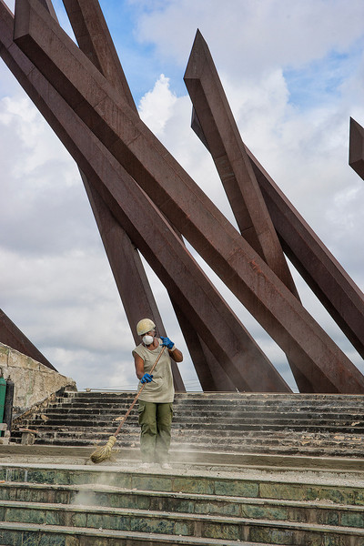 Machete symbols at the Antonio Maceo monument, Santiago de Cuba.  Although the Cuban farmer revolutionaries lacked the firearms of the Spanish, their improvised hand-guards on their machetes combined with Maceo's strategy allowed them to dominate the Spanish troops.