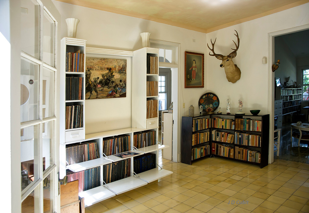 Part of the library, including the record collection, at Hemingway's house at Finca Vigia, Cuba.