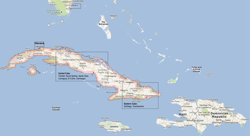 These photos were taken on a 15-day trip across Cuba, with stays in Eastern Cuba, Central Cuba, and Havana.  The island is the largest in the Caribbean.  At 780 miles long, it is about the length of California and 330 miles longer than Florida.  The cities listed in the boxes are mentioned in photo captions.  Note the proximity of Eastern Cuba to Haiti and Havana to Miami.  Movements of Haitians to Cuba produced a strong French influence in Cuban arts and architecture, especially along the Caribbean coast of Cuba.  Easy travel between Miami and Havana has had strong cultural impacts on both Florida and Cuba.