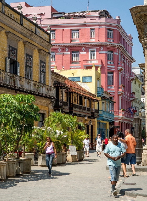 The pink building is the Hotel Ambos Mundos, Havana, Cuba, where Hemingway wrote and caroused.