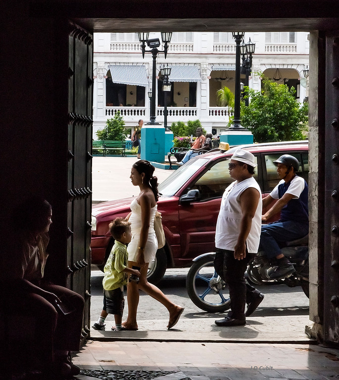 View from the doorway of the house of Diego Velazquez de Cuellar in Santiago de Cuba.  Built in the early 1500's, this is reportedly Cuba's oldest house still standing.