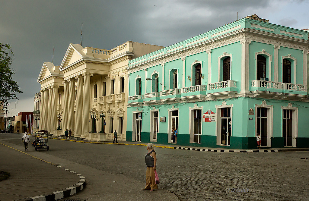 Cuba has a legacy of monumental buildings throughout the country, not just in Havana.  These face the main plaza of the city of Santa Clara, in the center of the island.