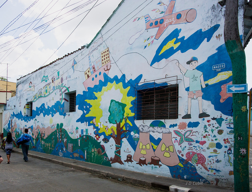 Neighborhood mural.  We saw other local murals also having political and social messages on our 15-day trip through Cuba.