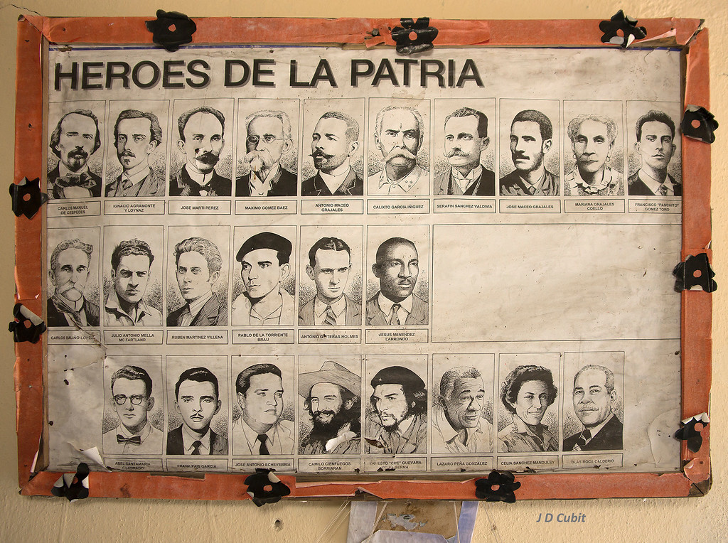 Everywhere Cuba honors its heroes.  This poster was in the hallway of a small school house in rural Cuba.