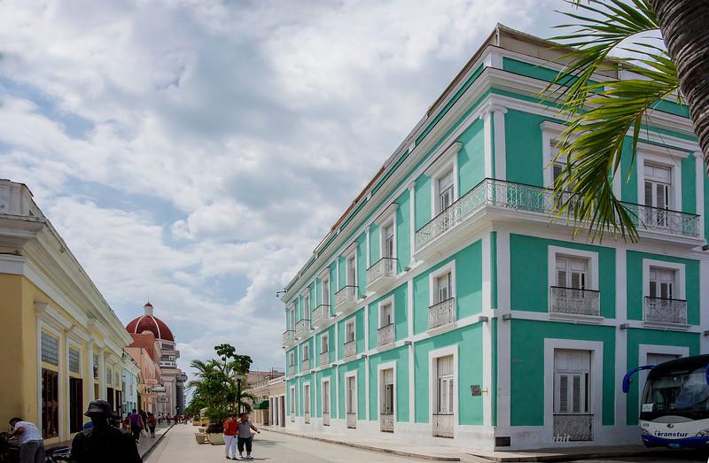 A main street in central Cienfuegos, Cuba.