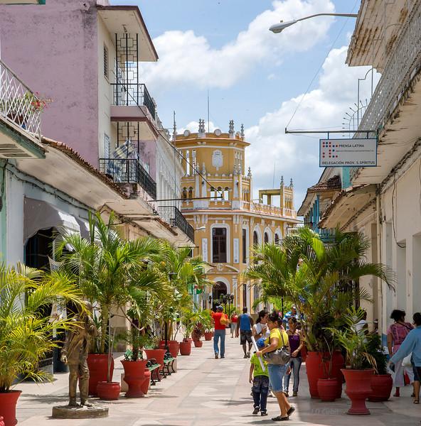 Center of town in Sancti Spiritus, Cuba, near the center of the island.