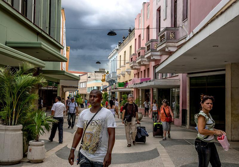 A main street in central Camaguey, Cuba.