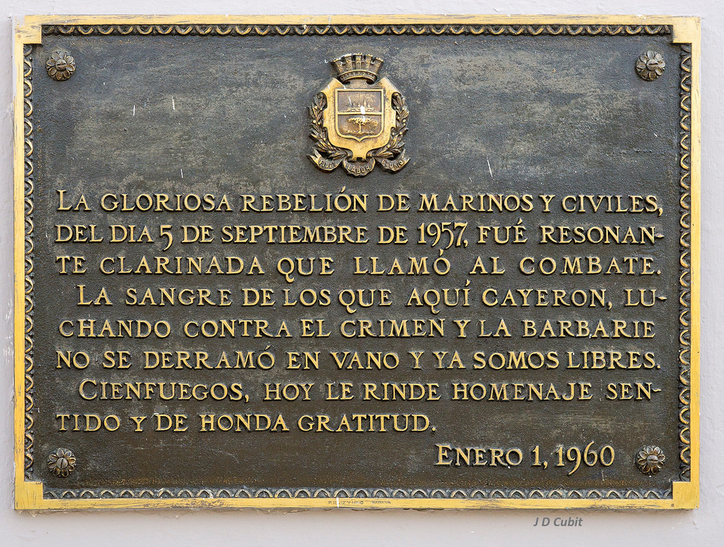 Cienfuegos, Cuba.  Memorial plaque for those who fought and fell in the Cuban Revolution, 1957.