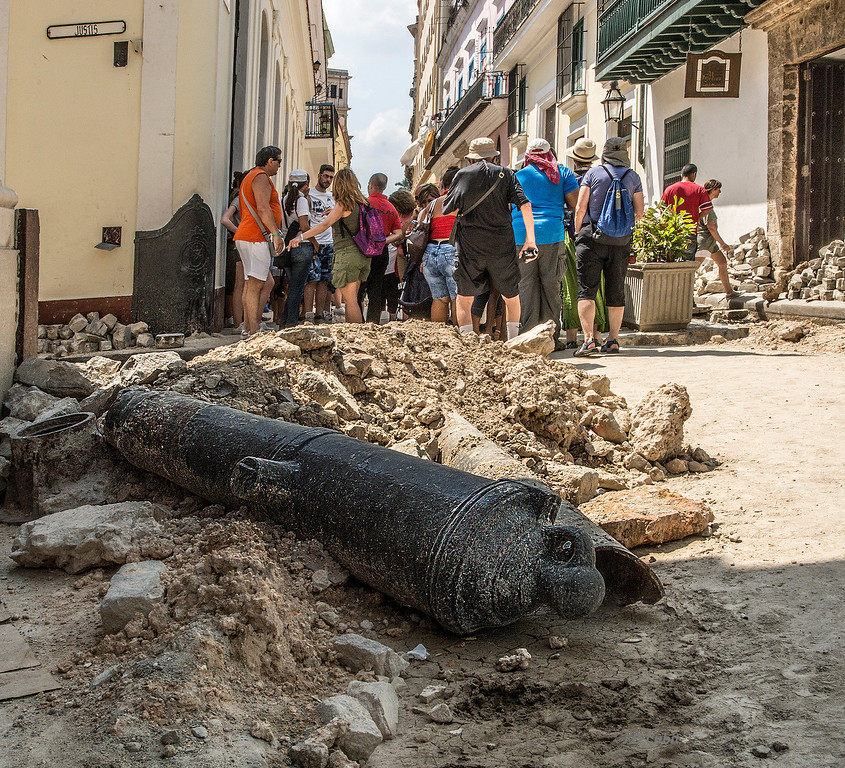 Restoration underway in Old Havana.  Old cannons are everywhere and are used as traffic barriers.