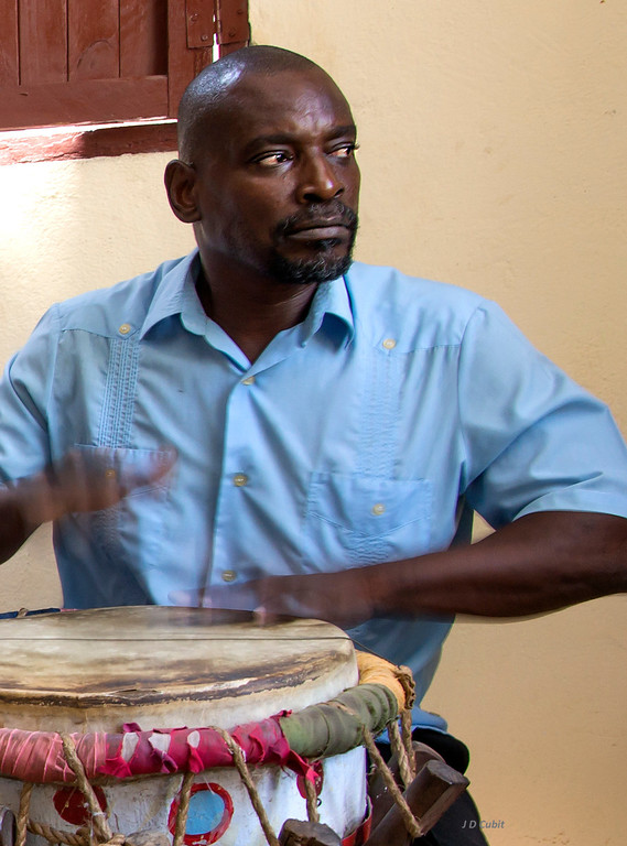 Pompadour drummer--Tumba Francesa (Afro-Cuban-Haitian French drum). Guantanamo, Cuba.