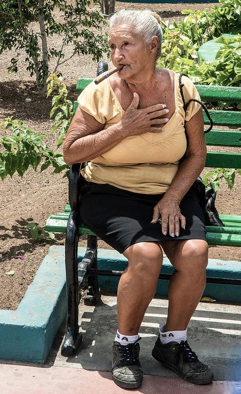 Posing in a plaza of Santiago de Cuba.