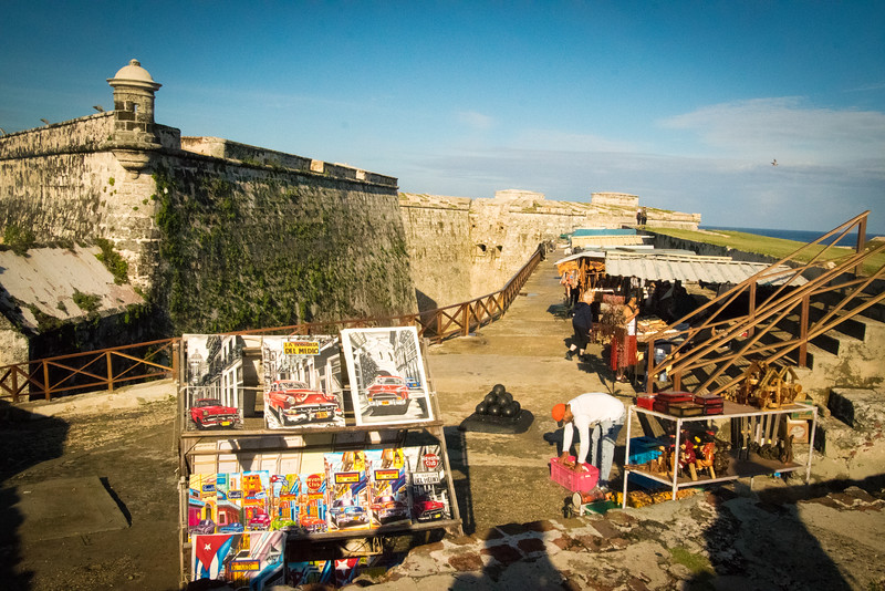 Vendors sell their work at the fortress of El Morro, built in 1589 to defend Havana harbor.