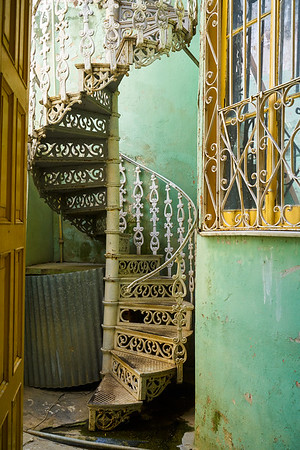 old winding stair case in Cienfuegos, Cuba