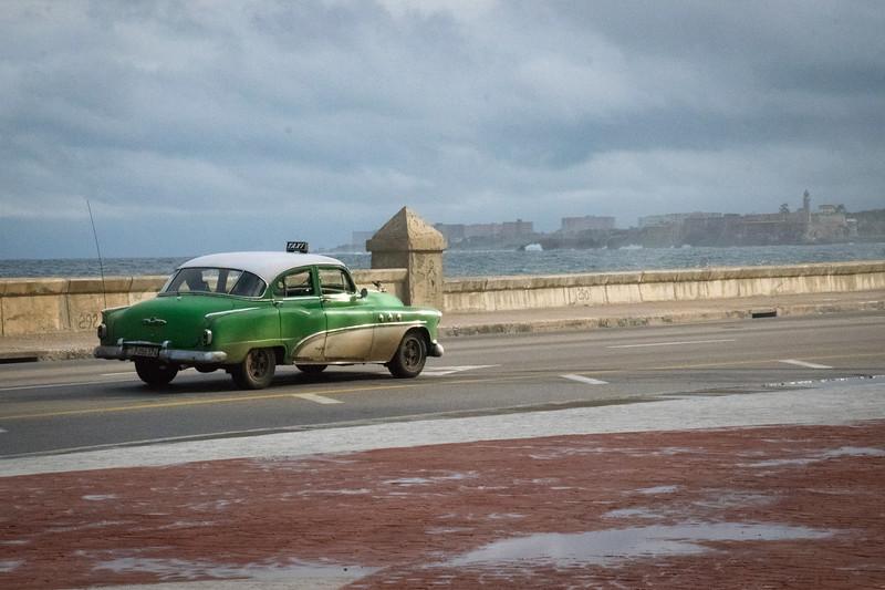 Taxi along the Malecon, Havana Cuba