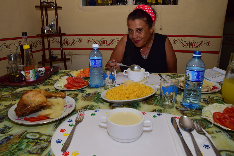 """Our first meal at our casa particular was sooooo delicious! Renting a home in Cubahas the advantage of increasing your interaction with ordinary Cubans, which can go a long way towards justifying your Cuba travel to the U.S. State Department, which still stipulates that Americans can only visit the Caribbean island for the purposes of """"people-to-people"""" cultural exchanges."""