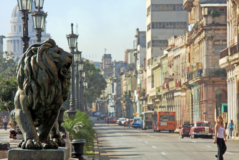 Roaring down the main drag of Havana, Cuba
