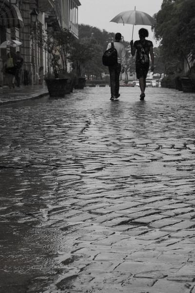 Rain and cobblestone streets. Havana, Cuba