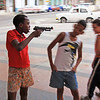 Boys 'playing' with toy-guns in Havana, Cuba