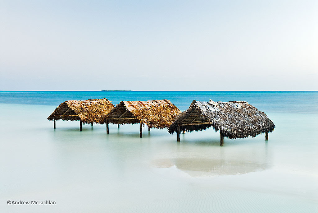 Palm Thatched Shelters on Cayo Guillermo, Cuba