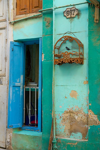 colorful window with a bird cage, Old Havana