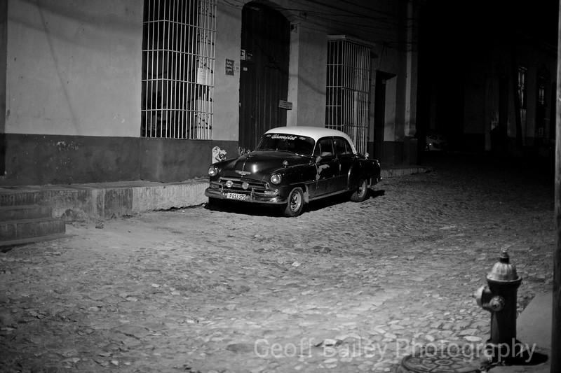 American Car in Trinidad, Cuba B&W