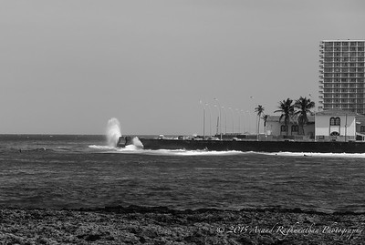 Surfers in front of the Malecón