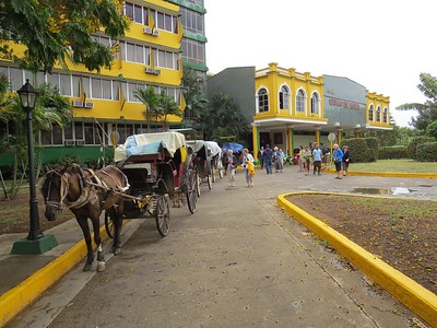 Our carriages await outside Hotel Ciego de Avila, our base for 12 days.