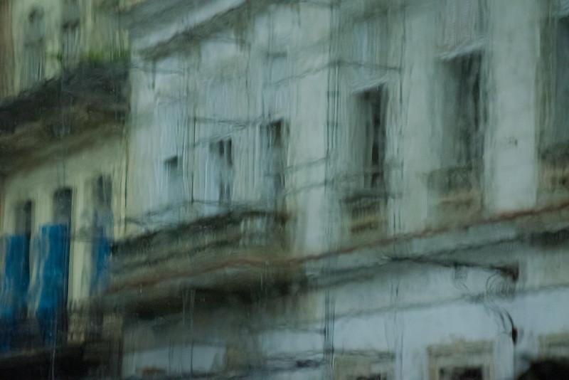 View through a rain mottled window.