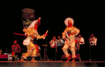 Cuban dancers, Los Muñequitos de Matanzas, perform folkloric dance.