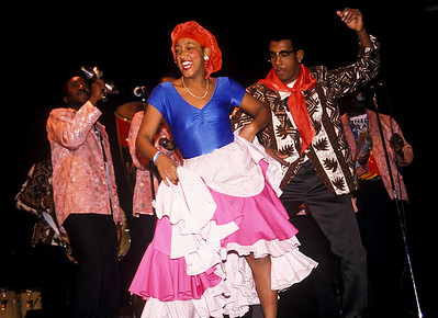 Cuban dancers, Los Muñequitos de Matanzas, perform folkloric dance.