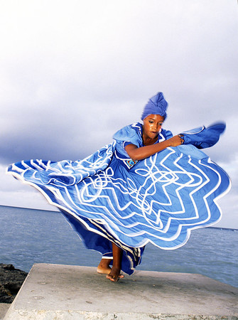 Cuban folkloric dancer performs the dance of  Yemaya, Goddess of the Sea, at the Malecon in Havana, Cuba.