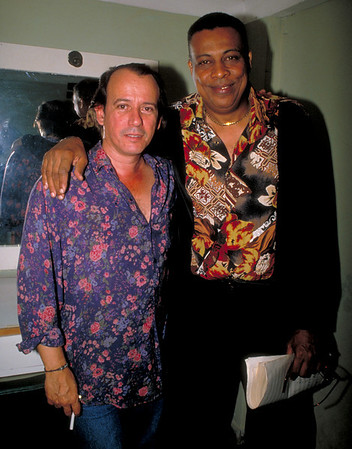 Chucho Valdés, Cuba's legendary Jazz pianist, backstage with legendary singer/songwriter, Silvio Rodriguez at the International Jazz Festival in Havana, Cuba.