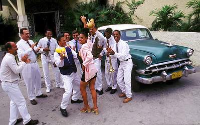 "Cuban musicians, ""La Calle Band,"" perform in Havana, Cuba."