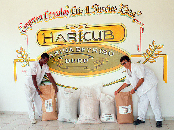 Workers at the Haricub Wheat Mill in Regla, Cuba, move bags of food for Cuban distribution after the historic arrival of food from North Dakota, United States, July, 2002, following reforms to the U.S. economic embargo.