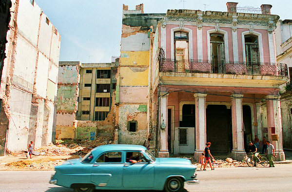 Old American car passes in Havana, Cuba.