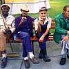Men waiting for the Pope to arrive in Santa Clara, Cuba.