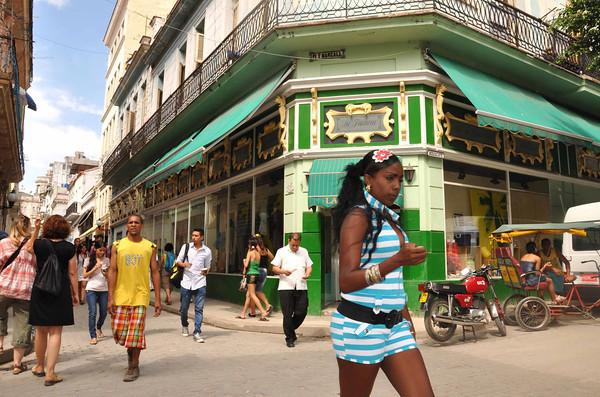 Daily life on Calle Obispo in Old Havana, Cuba, 2013.