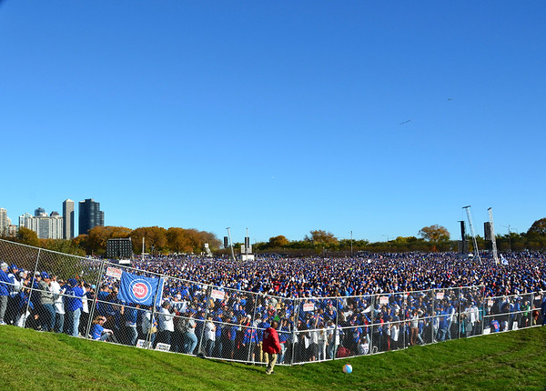 It was estimated that over 5 million people attended the parade and rally that kicked off at Wrigley Field and made its way to Hutchinson Field in Grant Park.