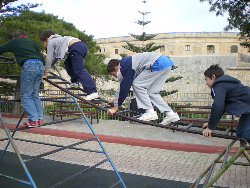 Cubs playing on the swings outside Mdina gate just before starting activity