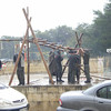 removing the poles in the rain..our day then came to an end...