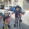 isaac and Zach ready to cycle during annual parade