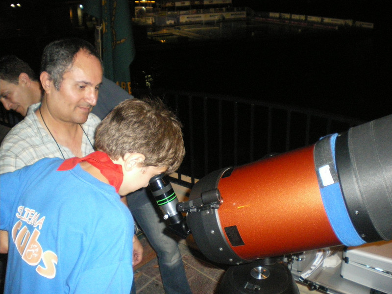 looking through a massive telescope!!
