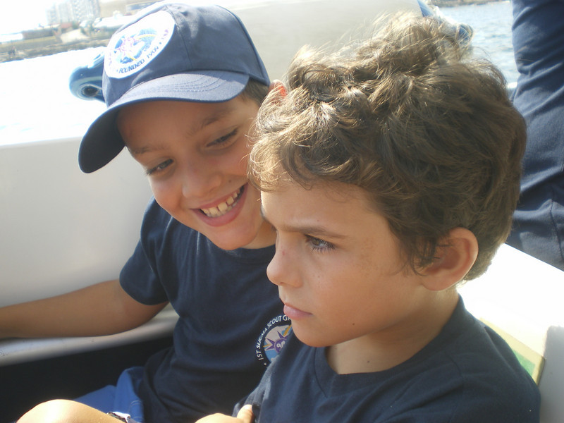 Ben not imporessed by the speed of the boat!!! whilst stefan giggles away