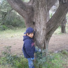 Jacques hiding behind a tree